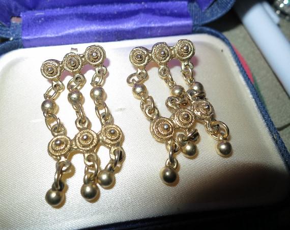 Fabulous pair of vintage gold metal fancy   drop earrings