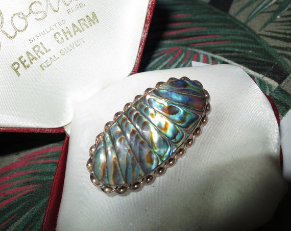 Lovely vintage sterling silver  Art Deco abalone paua brooch