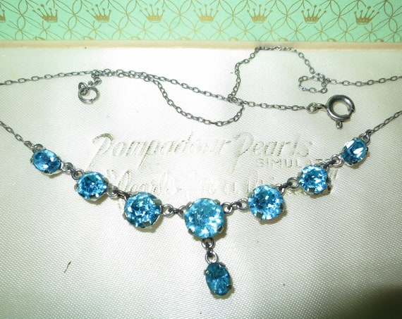 Beautiful  vintage sky blue rhinestone drop silver tone chain necklace signed Czech