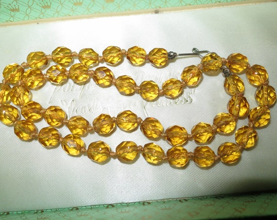 Gorgeous Vintage Art Deco Faceted Amber Glass Bead rolled gold Necklace