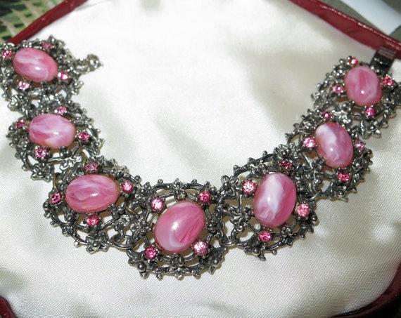 Wonderful vintage silver metal pink opal glass and pink rhinestone bracelet