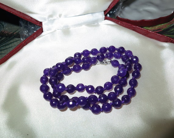 Lovely 6mm  faceted knotted natural amethyst necklace sterling silver clasp 18""