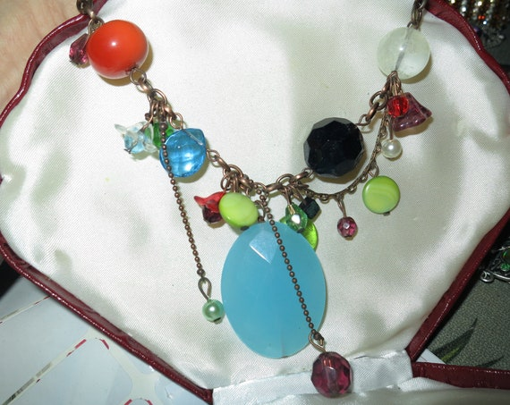 Vintage retro boho multi drop turquoise glass fx pearl necklace