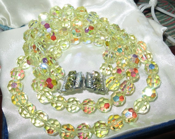 Quality vintage 2 strand faceted lemon crystal diamante clasp necklace