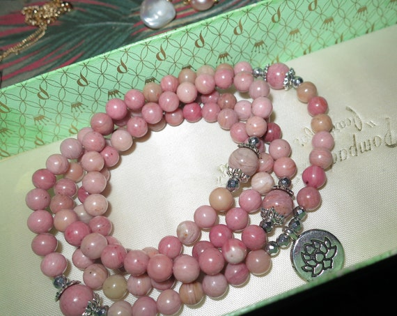 Lovely Natural  Rhodochrosite necklace or wrap bracelet 30 inches