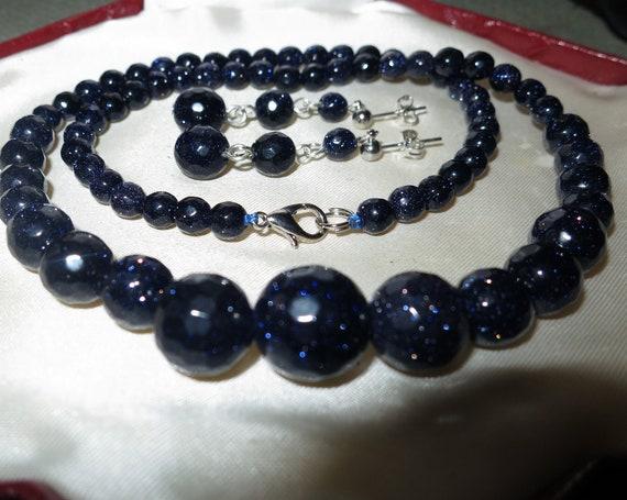Lovely Faceted blue sunstone Sitara   Necklace Earrings Set
