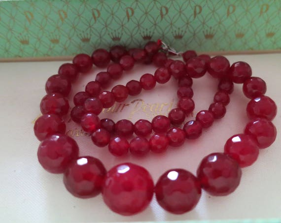 Lovely faceted graduated natural raw ruby necklace 24""