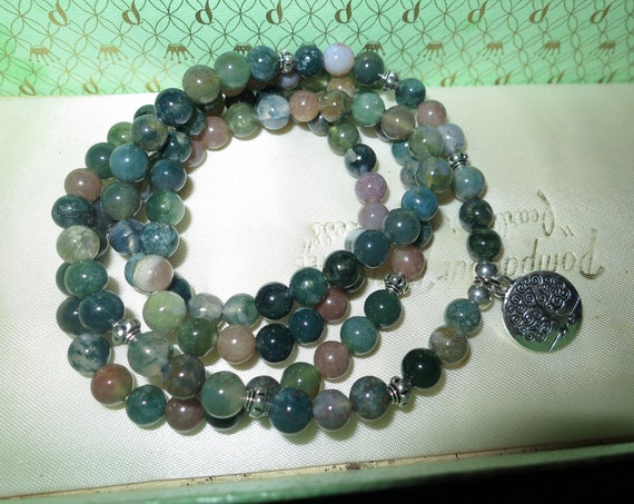 Lovely Natural 6.5mm Indian Agate  necklace or wrap bracelet 26 inches