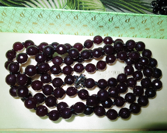 """Beautiful faceted natural raw garnet knotted long necklace 36"""""""