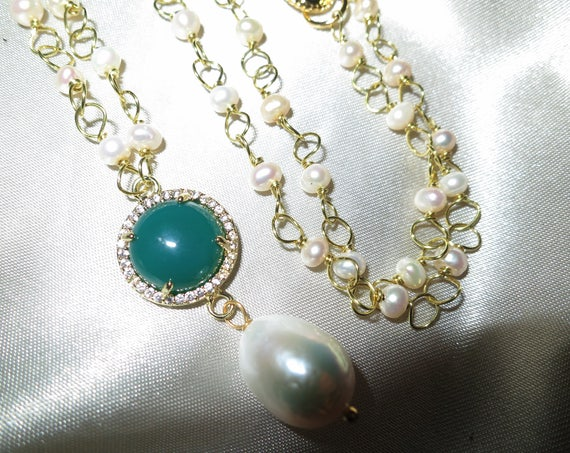 Beautiful Natural gold wire linked 3-4mm freshwater pearl and jade pendant necklace