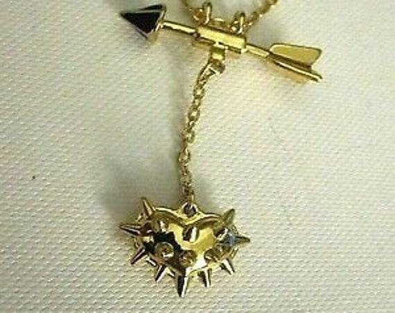 Pretty Vintage goldtone Kirks Folly spike heart and arrow  pendant necklace