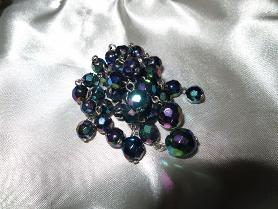 Vintage 1950s carnival glass cascade brooch