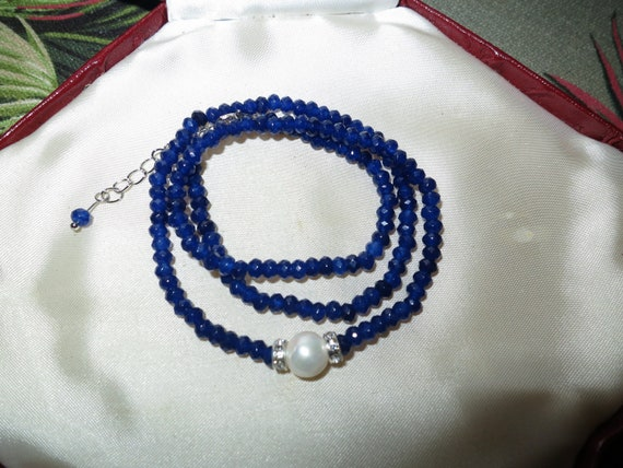 Lovely Natural Faceted 4mm blue sapphire and 10mm freshwater pearl necklace 18-20""