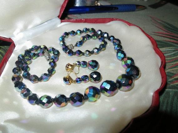 Fabulous Vintage 1950s carnival glass Necklace & Earrings set