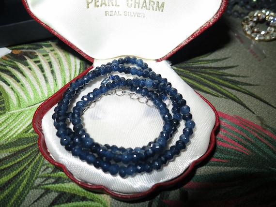 """Lovely sparkly faceted 4 mm blue Kyanite necklace   18 - 20"""""""
