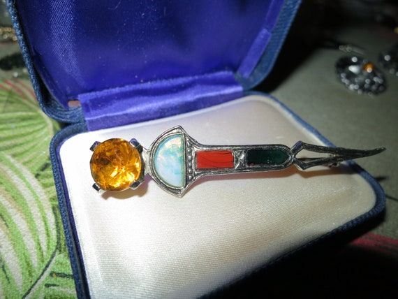 Vintage  Scottish dagger brooch or kilt pin with agate and amber glass stones