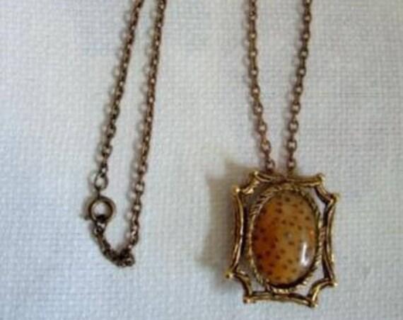 Vintage Polished Stone Petrified Palm Pendant Brooch Necklace Gold Tone