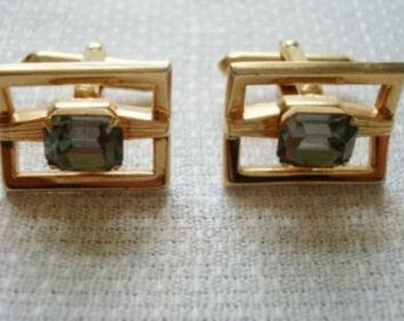 Vintage  Gold Tone Swank gray glass  Cuff Links