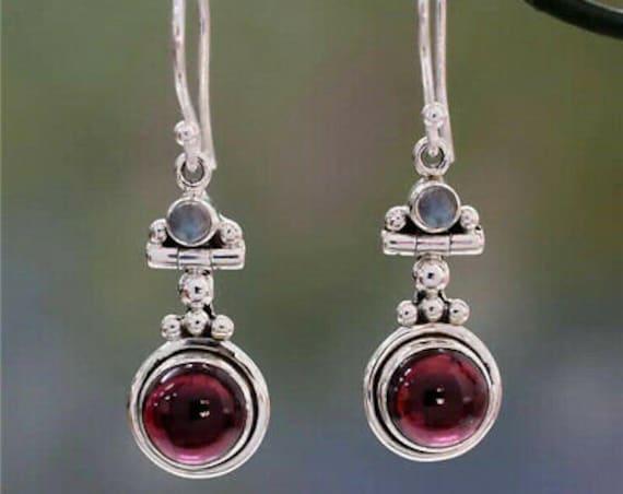 Beautiful sterling silver garnet and opal glass dropper earrings