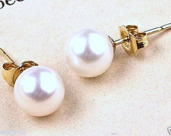 Beautiful 8mm white seashell pearl stud earrings goldplated posts