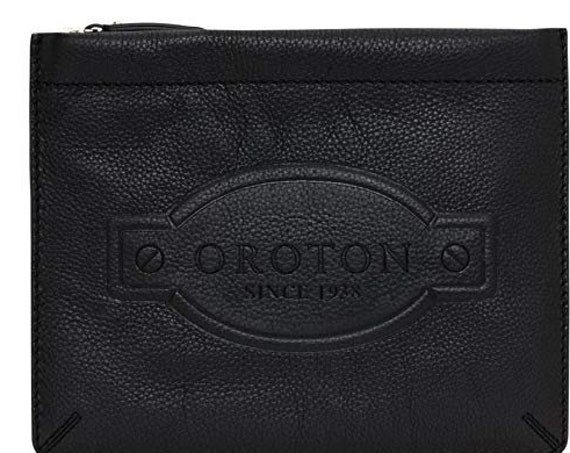 Brand new with tags Oroton black leather Jade Flat Flip case clutch or bag