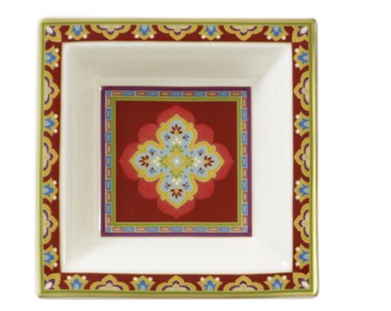 Villeroy & Boch Samarkand Rubin Indian porcelain square dish in box
