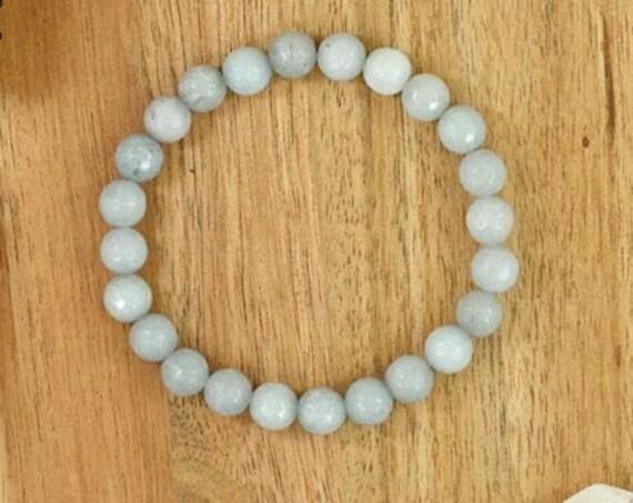 """Lovely natural 8mm round aquamarine stretch unisex bangle 7.5"""""""
