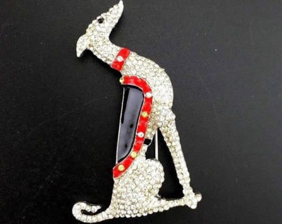 Glamour vintage sparkly Art Deco design Greyhound Borzoi dog rhinestone brooch pin