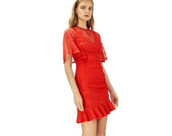 Keepsake Get Free Lace Mini dress scarlet red XS -  6 BNWT