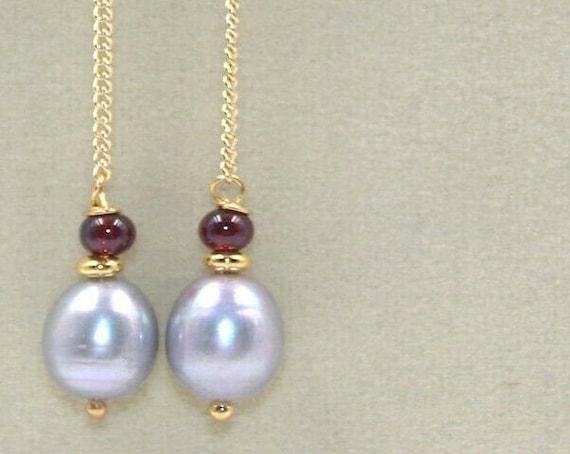 Lovely Natural silvery grey Freshwater Pearl Garnet Beads   Dangle Link Earrings