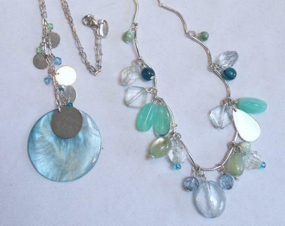 Two lovely vintage Silvertone Turquoise mother of pearl Shell necklaces