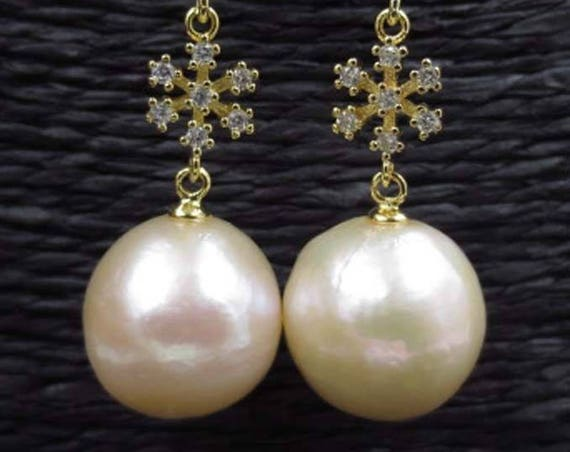 Beautiful natural light rainbow purple 14mm  Kasumi pearl   dangle earrings