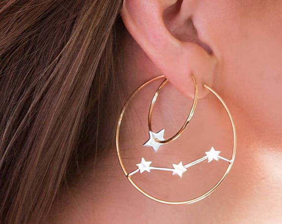Lovely new 14ct gold and sterling silver hoop and  star earrings