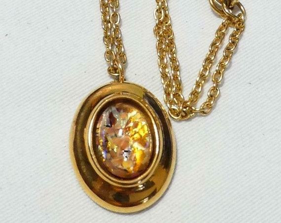 Lovely vintage Goldtone Ceramic Gold Framed opal Glass Cabochon necklace