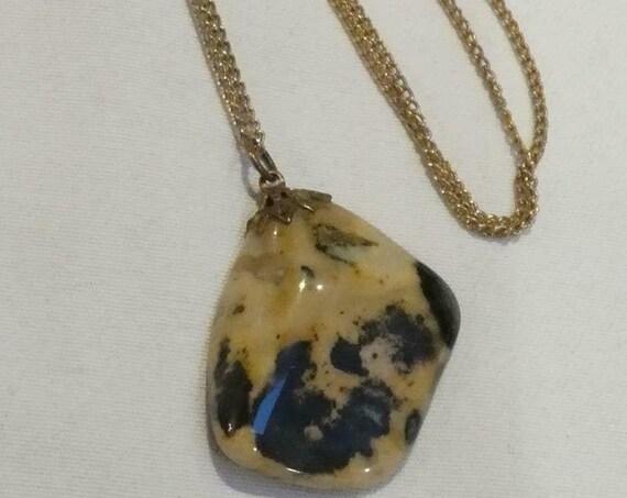 Vintage Goldtone Chain & Large Moss agate pendant necklace
