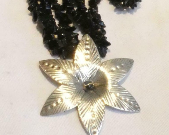 Fabulous vintage  3 strand Black Polished Glass  & Large Silver 925 Floral necklace