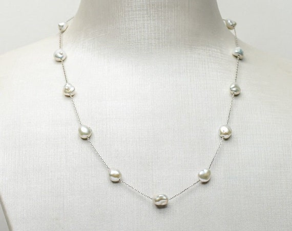 Classic 6-6.5mm White Freshwater Keshi Pearl Necklace 925 Sterling Silver