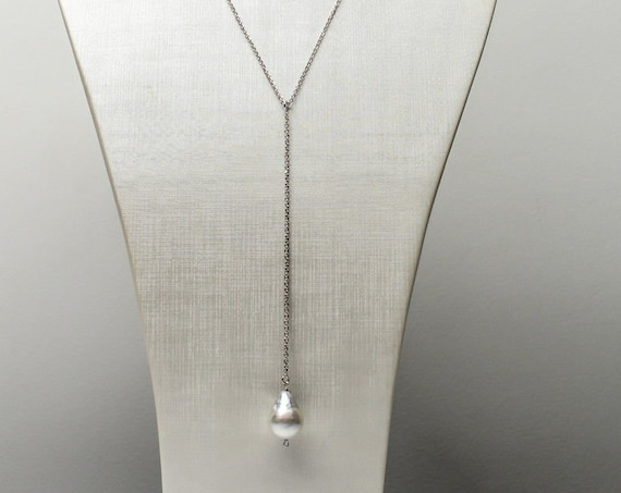 """Stunning 13-18mm South Sea Pearl Pendant Italian sterling chain 18"""""""
