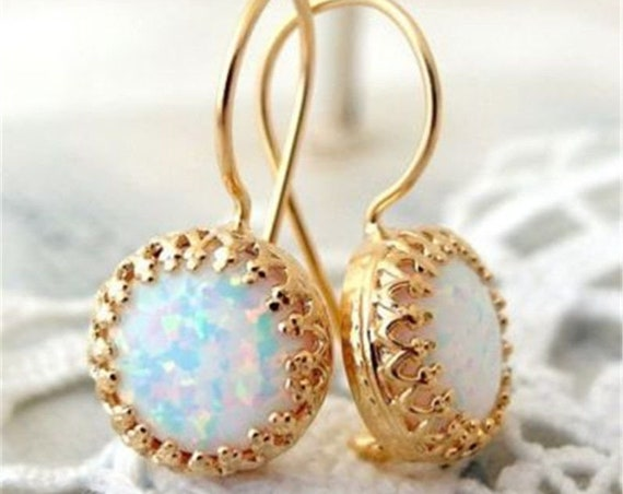 Lovely 18ct gold plated natural opal earrings