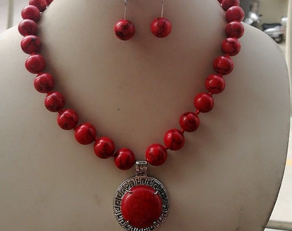 Charming 12mm Red Jade Pendant Necklace 18'' Earring Set