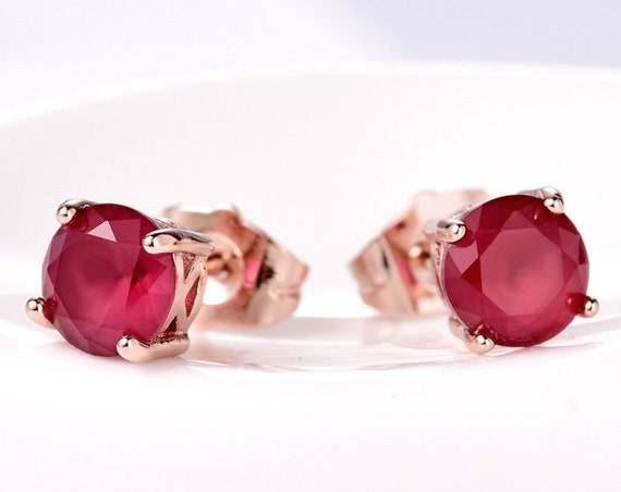 Beautiful 18 rose gold filled 7mm ruby stud earrings