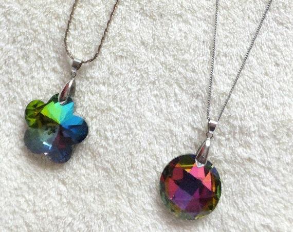 2 Lovely aurora borealis green and purple pendant rivoli glass necklaces