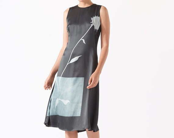 Gorgeous BNWT Jigsaw Thistle Lavinia Midnight green silk dress UK6 US2