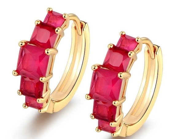 Beautiful 18ct GP yellow gold filled ruby hoop earrings