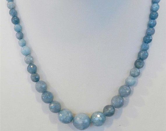 Lovely 6-14mm raw aquamarine knotted necklace 23 inches