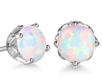 85fb28737 Beautiful 18 ct white gold filled 6.5 mm white fire opal stud earrings