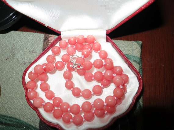 Lovely 6mm faceted natural Rhodochrosite knotted necklace sterling silver clasp