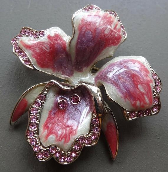 Lovely vintage pink enamel rhinestone orchid flower brooch