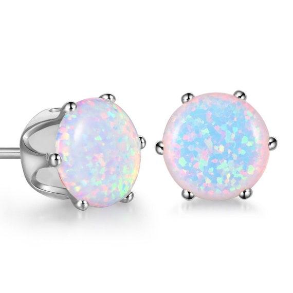 Beautiful 18 ct white gold filled 8mm fire opal stud earrings