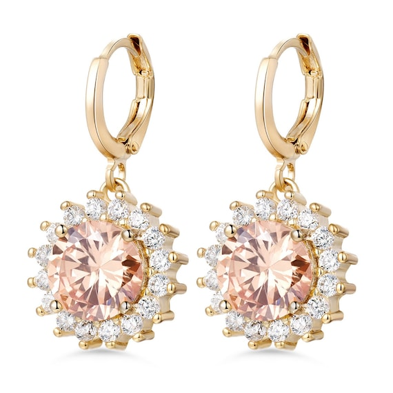 Lovely 18ct gold filled clear and champagne glass sunflower leverback earrings